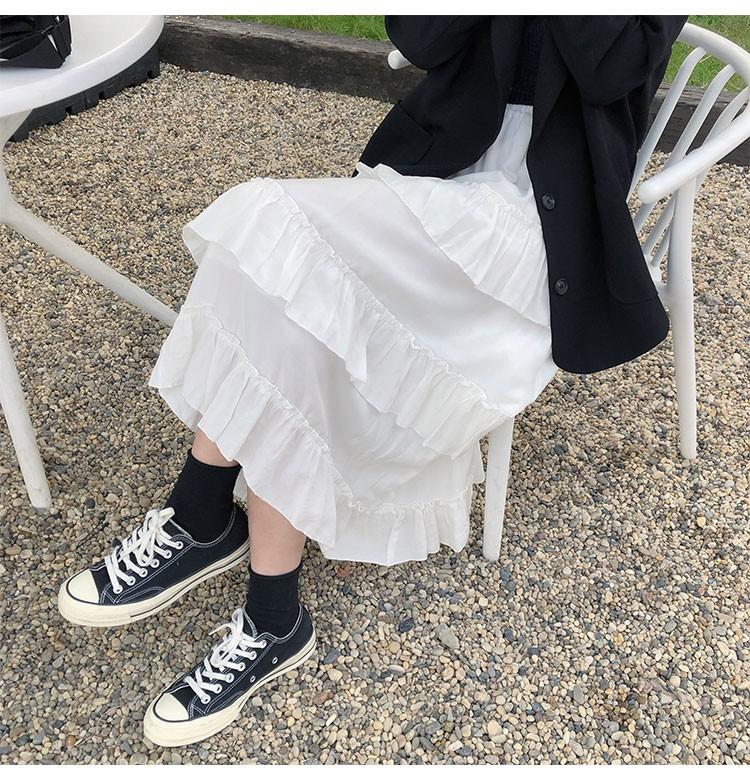 Asymmetrical Ruffle Maxi Skirt Punk Harajuku 59