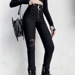 Black bodycon pants with Moon hollow out 3
