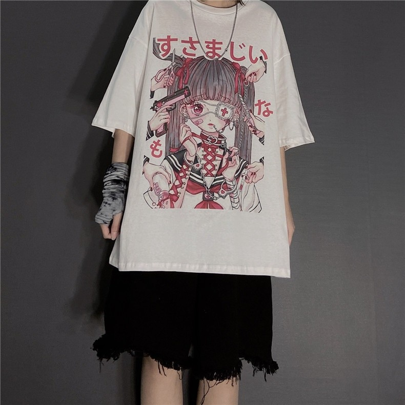 E-girl Gothic Harajuku T-shirt with anime print 43