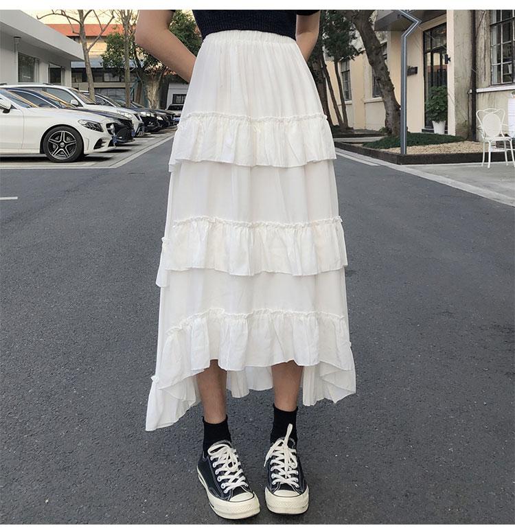 Asymmetrical Ruffle Maxi Skirt Punk Harajuku 56