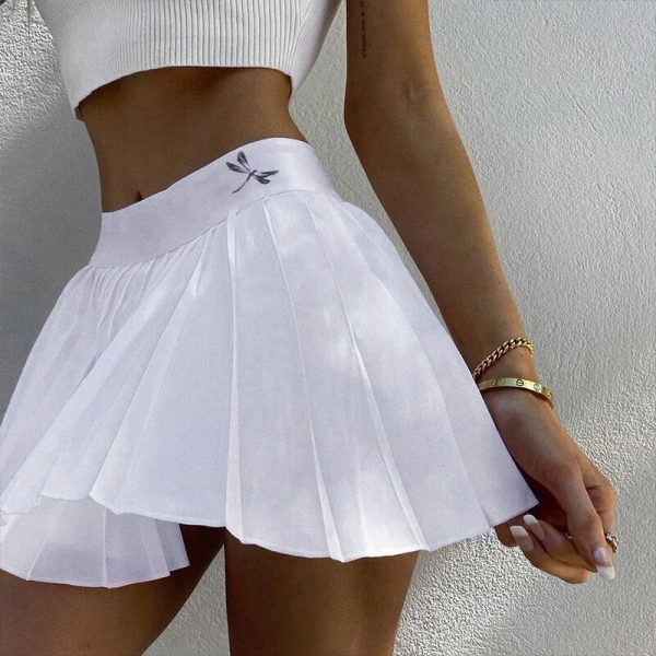 Pleated Mini Skirt with dragonfly 15
