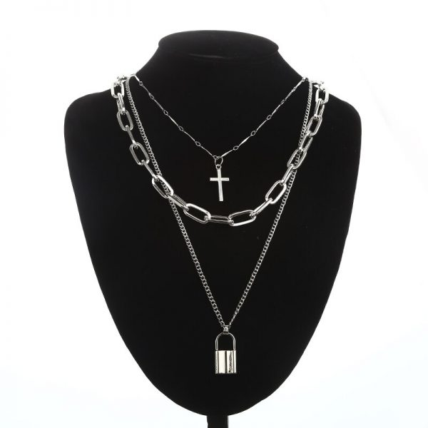 KPOP Layered Chain Necklace Punk Fashion Cross Pendants Women Men Grunge Aesthetic Egirl Alternative Goth Jewelry Gifts 6
