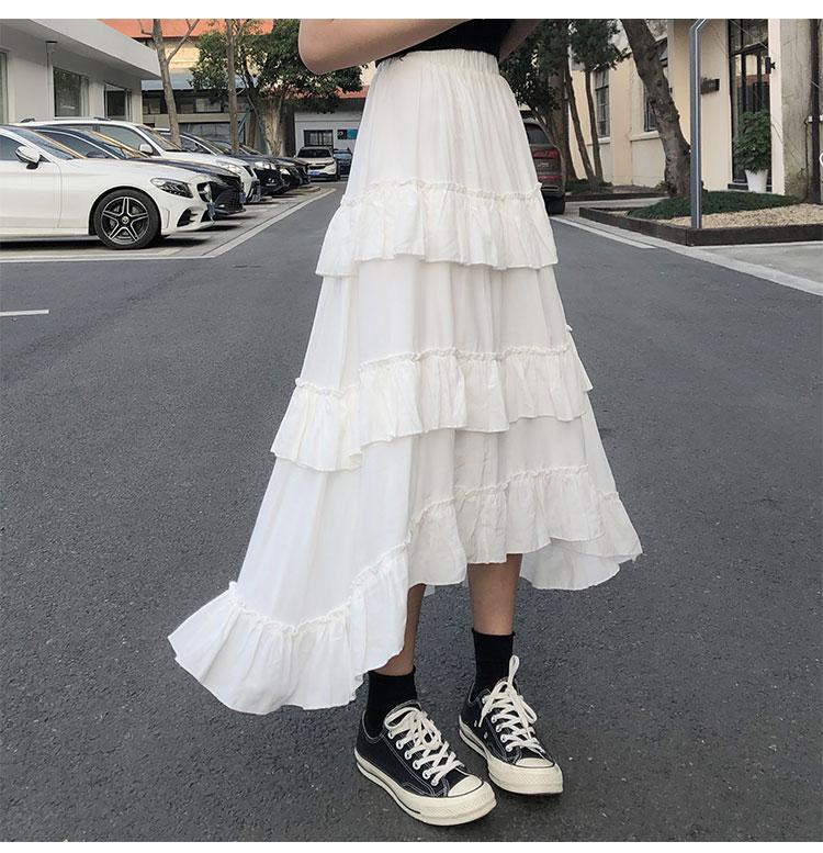 Asymmetrical Ruffle Maxi Skirt Punk Harajuku 57