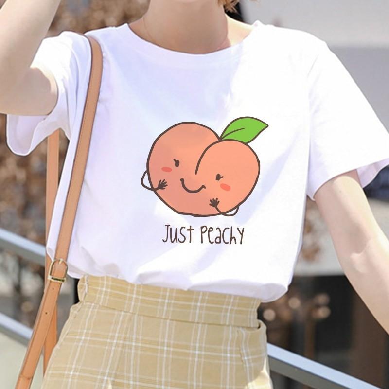 E-girl Soft girl Cartoon Peach print T-shirt 50