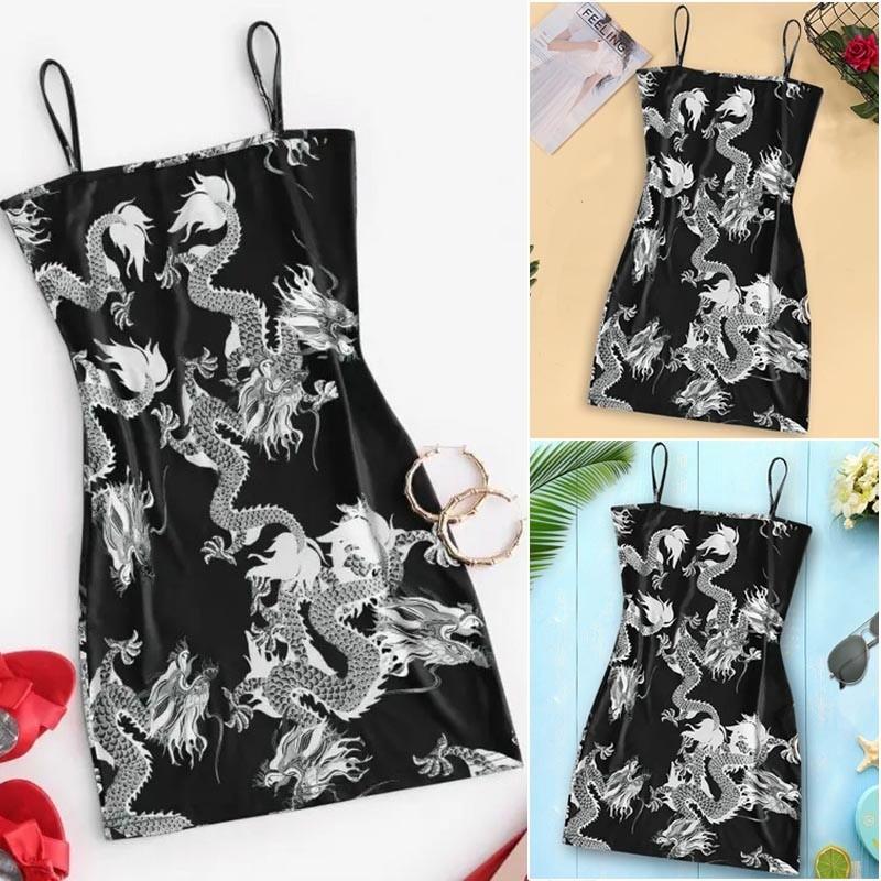 Pastel gothic E-girl Dragon Pattern Sleeveless Dress 41
