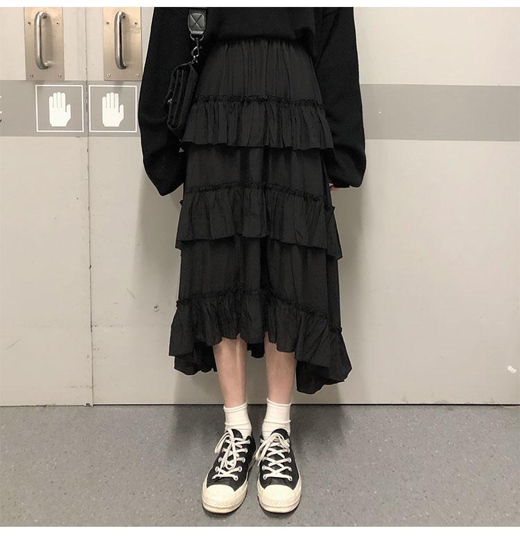 Asymmetrical Ruffle Maxi Skirt Punk Harajuku 42