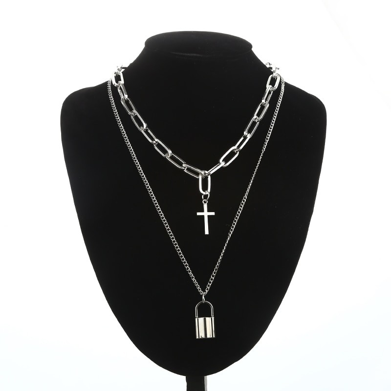 Layered Chain Necklace with Cross Pendant E-girl Pastel gothic 47