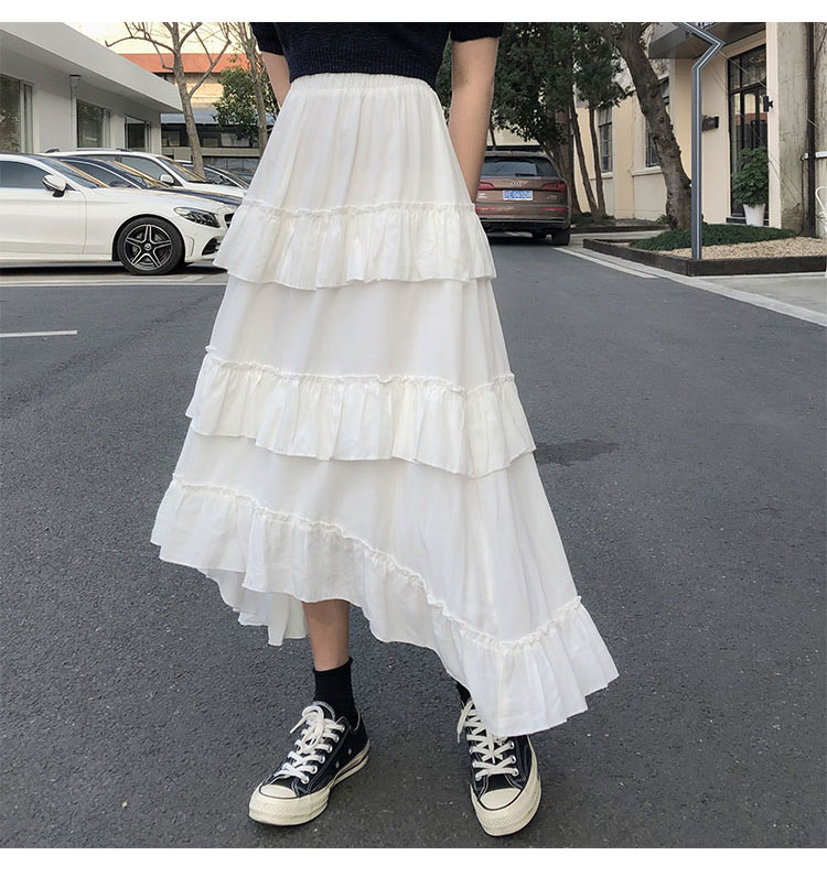 Asymmetrical Ruffle Maxi Skirt Punk Harajuku 54