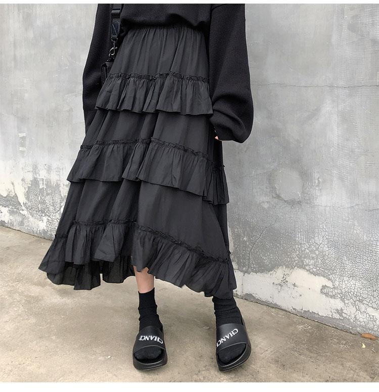 Asymmetrical Ruffle Maxi Skirt Punk Harajuku 46