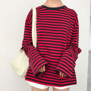Loose Striped Long Sleeve T-shirts 1