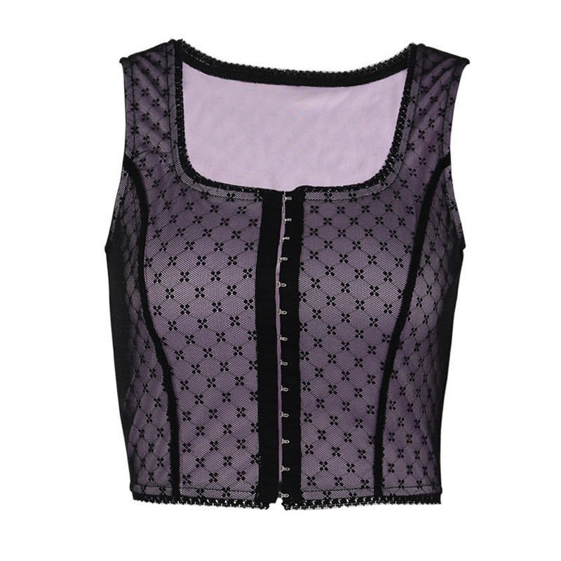 Sleeveless Lace Crop Top Y2K aesthetic 42
