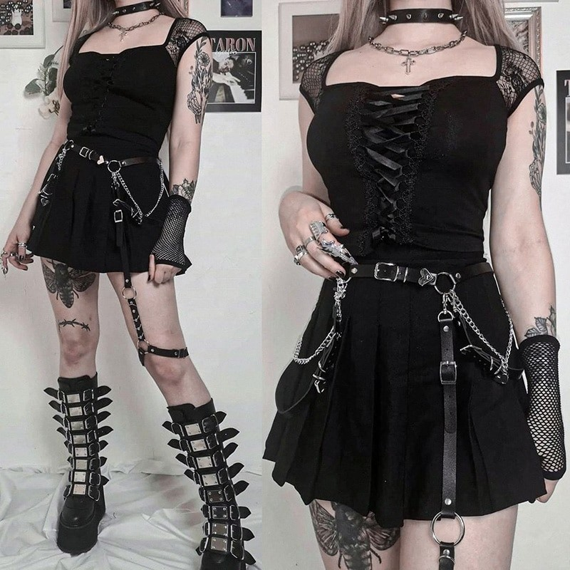 Vintage Top with mesh shoulders and lacing Egirl Pastel gothic 45