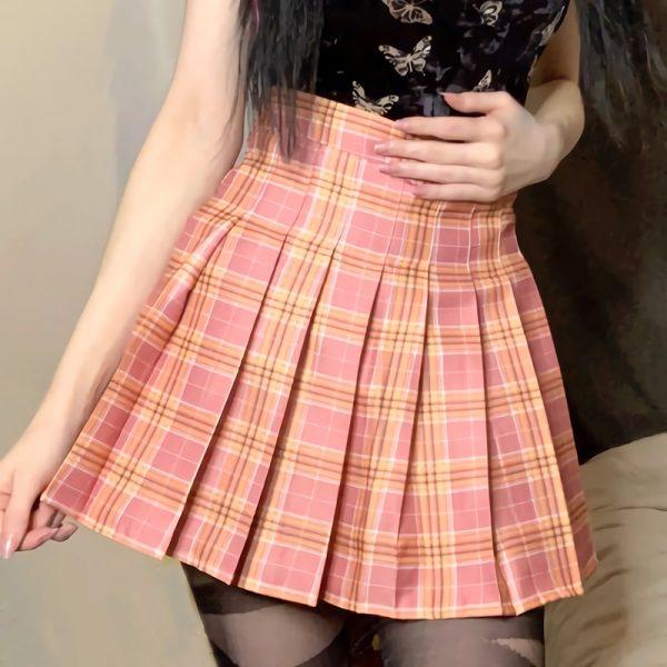 Plaid Pleated Mini Skirt 2