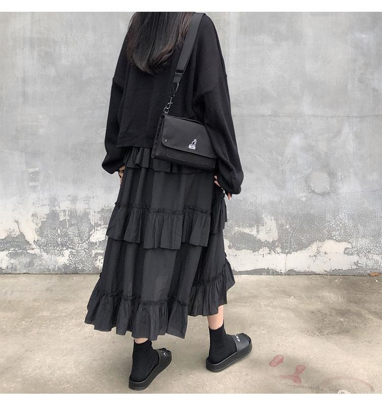 Asymmetrical Ruffle Maxi Skirt Punk Harajuku 49