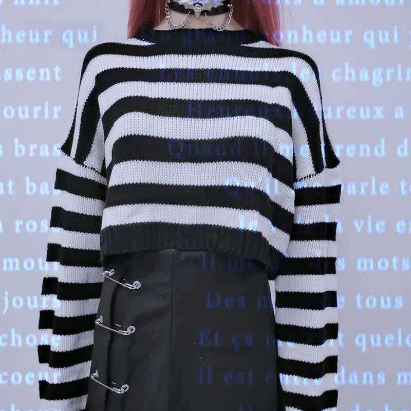 Grunge Striped oversize cropped Sweater 40