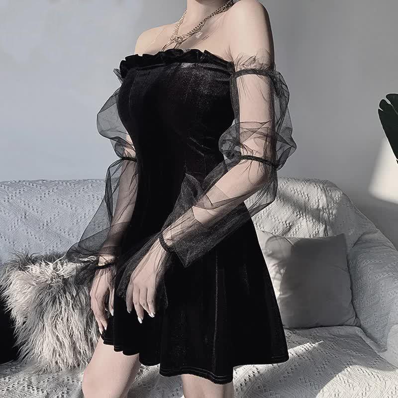 Pastel Gothic Mesh sleeve Vintage Dresses 42