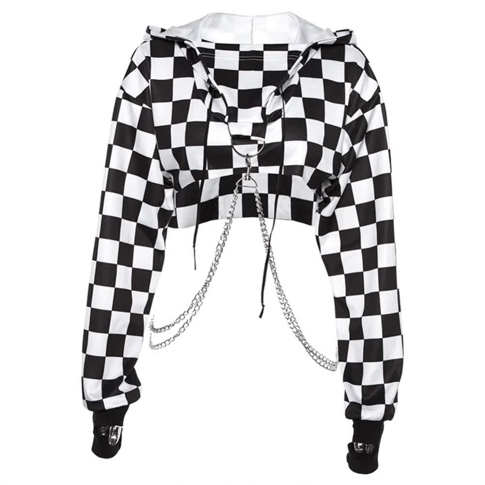 Harajuku Hoodie Crop Top  with chains 41