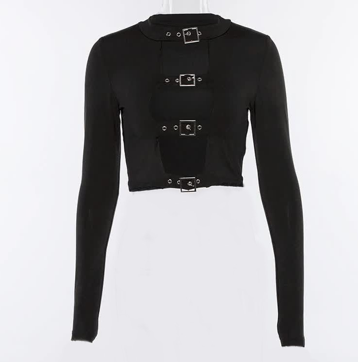 Punk Pastel gothic Crop top with buckles and long sleeve 41