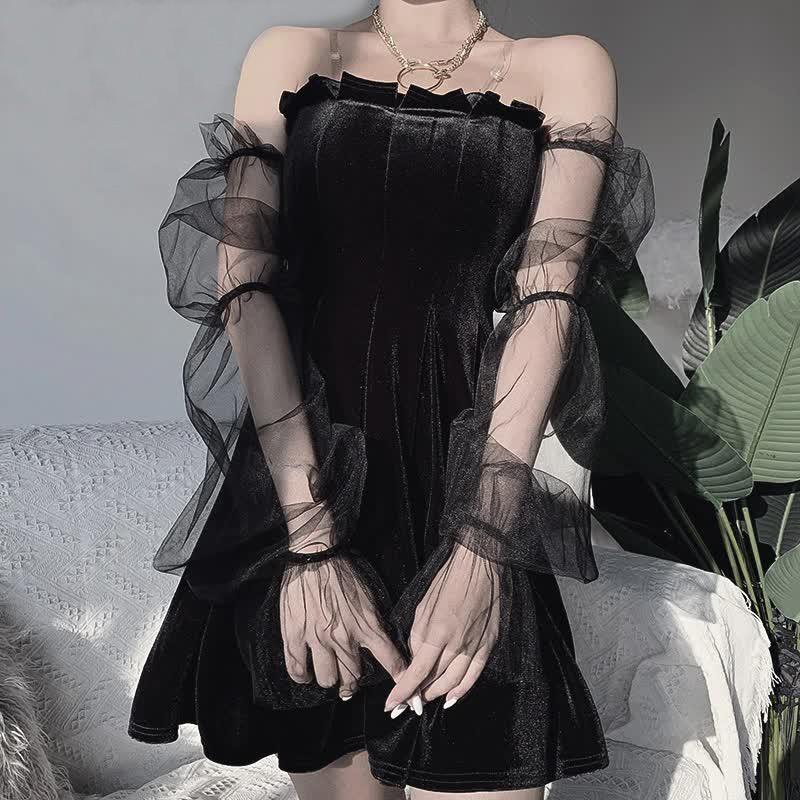 Pastel Gothic Mesh sleeve Vintage Dresses 41
