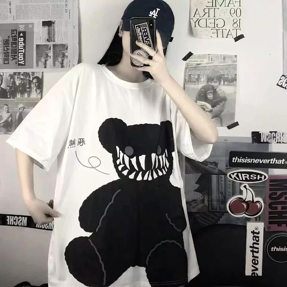 E-boy E-girl Punk Harajuku streetwear T-Shirt with bear print 42