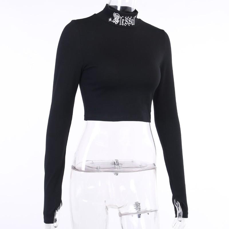 Black Bodycon Long Sleeve Crop Top E-girl 42