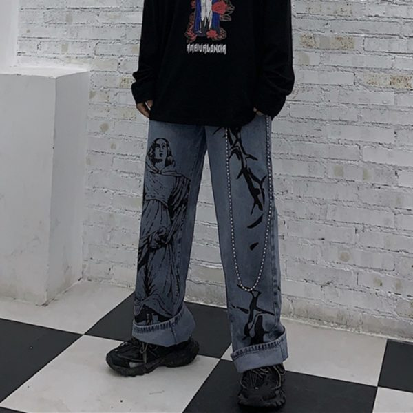 Wide Blue Pants with Print 6
