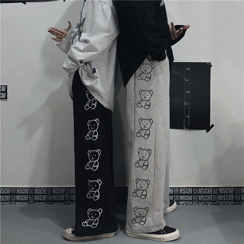 Wide Leg Pants with Cartoon Print E-girl Punk 44