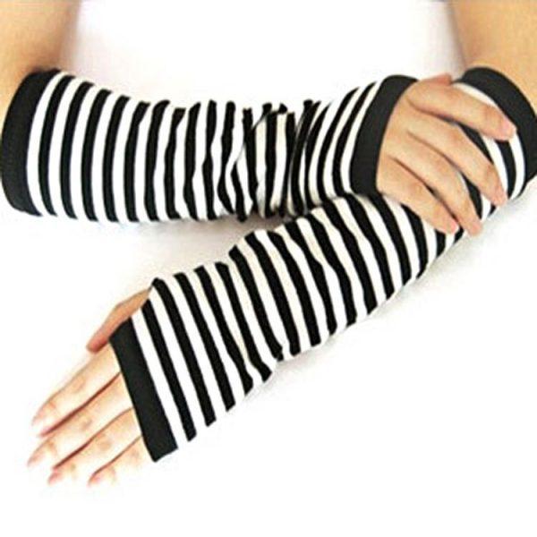 Knitted Long Fingerless Mittens 32