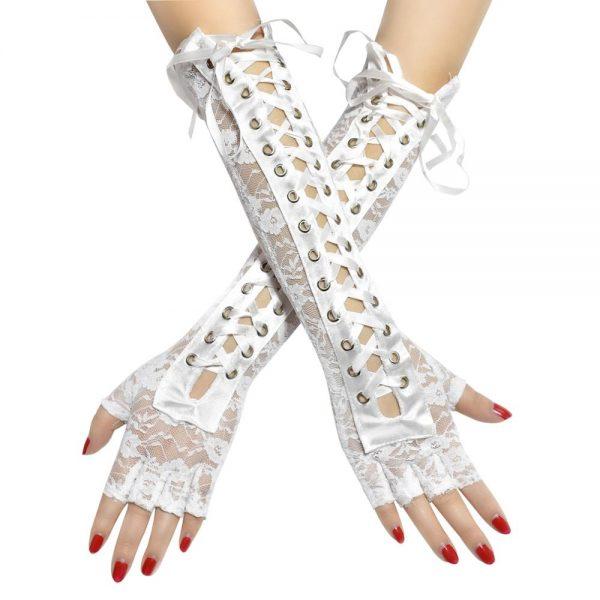 Lace Long Fingerless Gloves  8