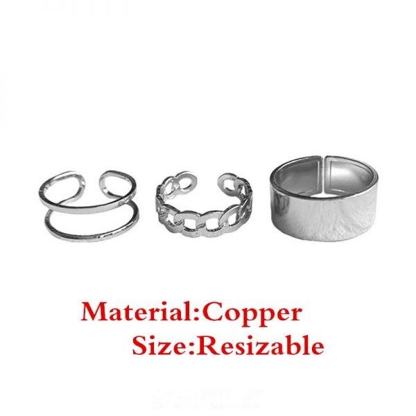 Resizable Rings set for fingers 6