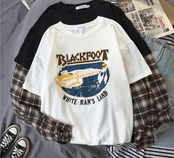 Оversized t-shirt with plaid Long Sleeves 3