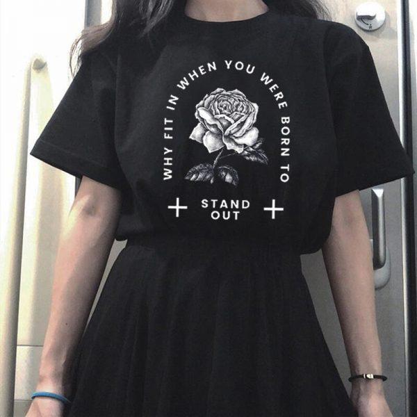 Gothic rose print T-shirt 2