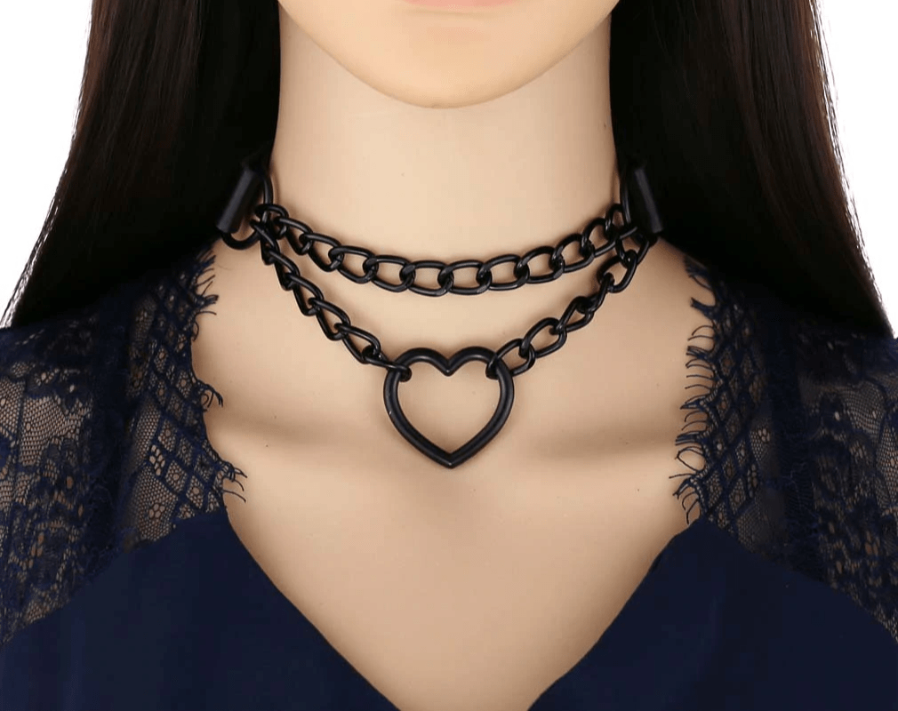Choker with Black Heart and Chain E-girl Pastel gothic 41