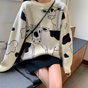 Loose Cow print Sweater  1