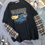 Оversized t-shirt with plaid Long Sleeves 4