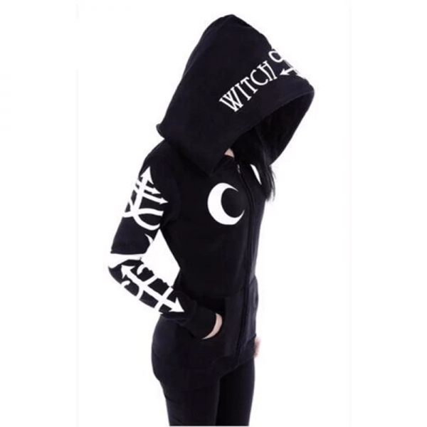 Hoodies with Moon and Letters Print 3