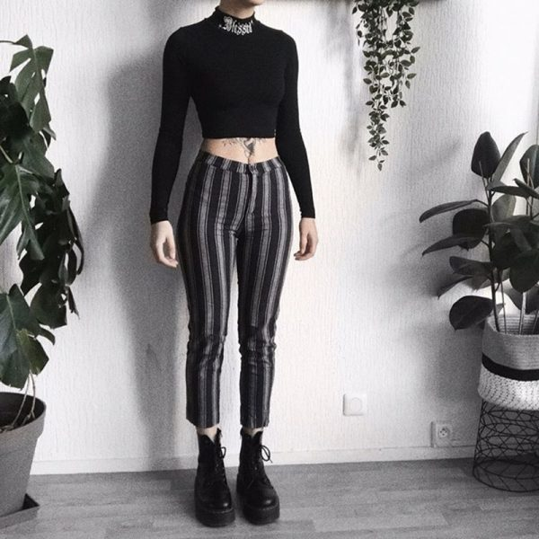 Black Bodycon Long Sleeve Crop Top 13