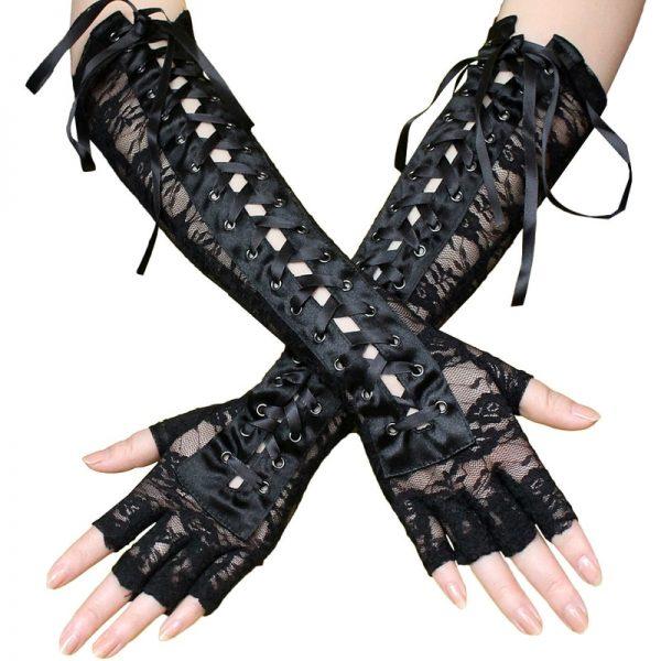 Lace Long Fingerless Gloves  1
