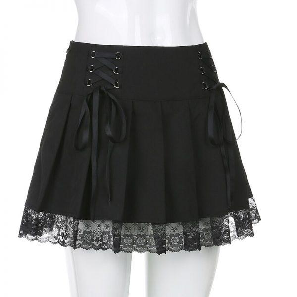Lace Pleated Mini Skirt 5
