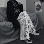 Wide Leg Pants with Cartoon Print 1