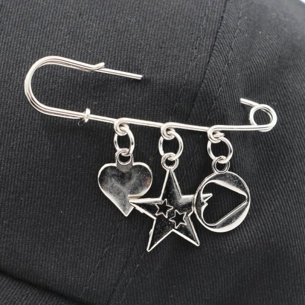 Baseball cap with Iron rings and pendants 3