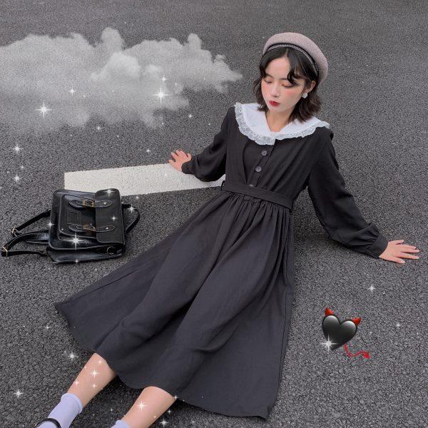 Dress Women Dark Fashion Preppy Style Long Sleeve Lolita Dresses Japanese Sweet Peter Pan Collar Long Ladies Elegant Dresses 1