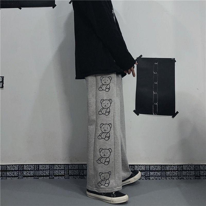 Wide Leg Pants with Cartoon Print E-girl Punk 51