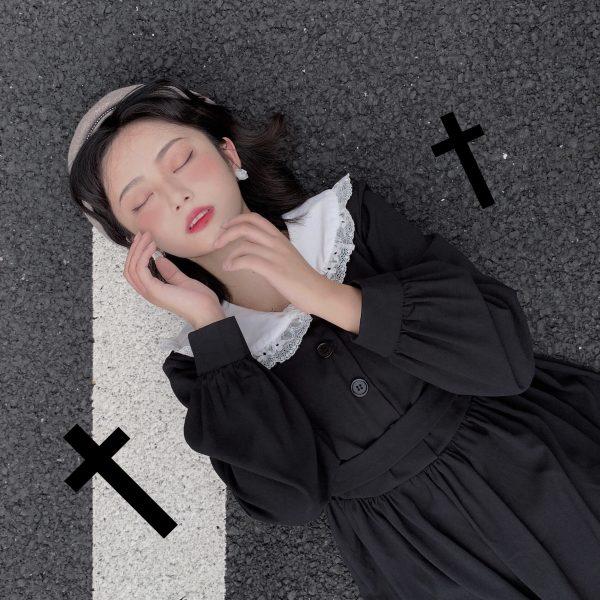 Dress Women Dark Fashion Preppy Style Long Sleeve Lolita Dresses Japanese Sweet Peter Pan Collar Long Ladies Elegant Dresses 5
