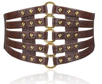 Wide Waist Elastic 5 Straps PU Belt 8