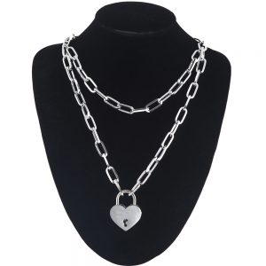 Multilayer Chain Necklace With A Heart Padlock 7