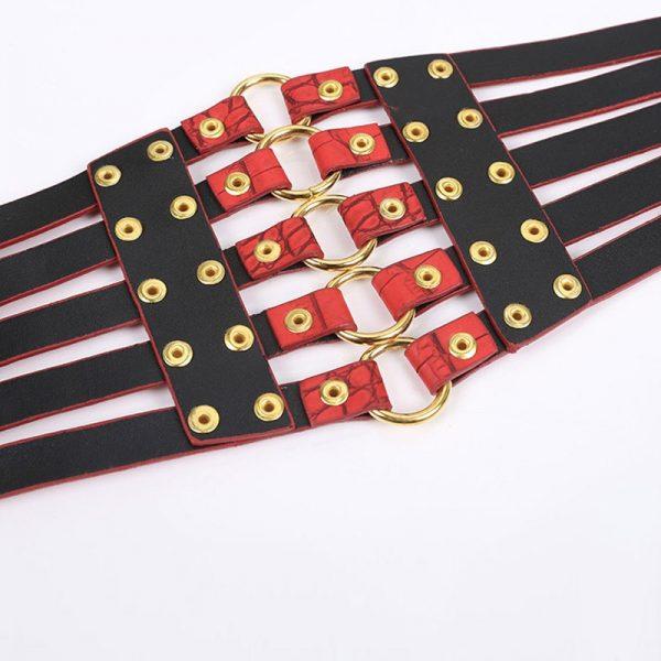 Wide Waist Elastic 5 Straps PU Belt 5