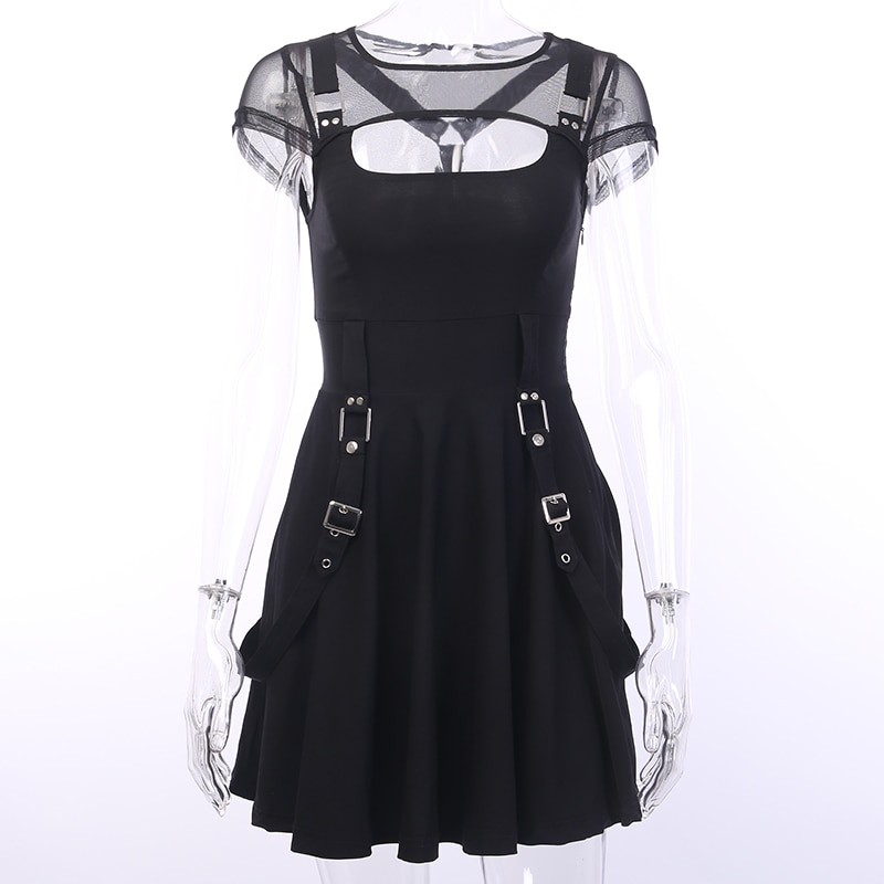 Black Dress with Mesh Shoulders Pastel gothic 41