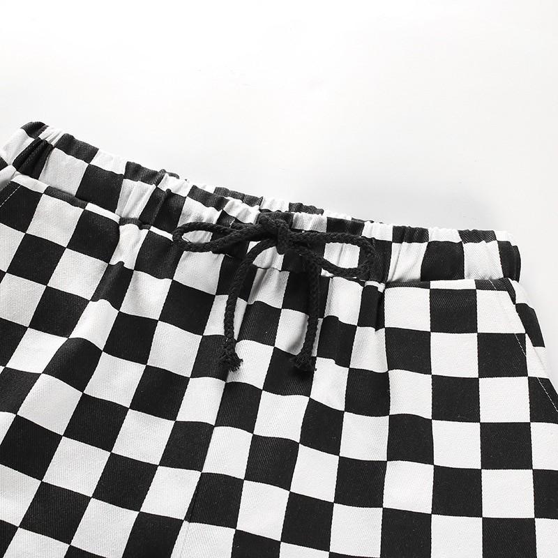 Checkered High Waist  Pants E-girl 44