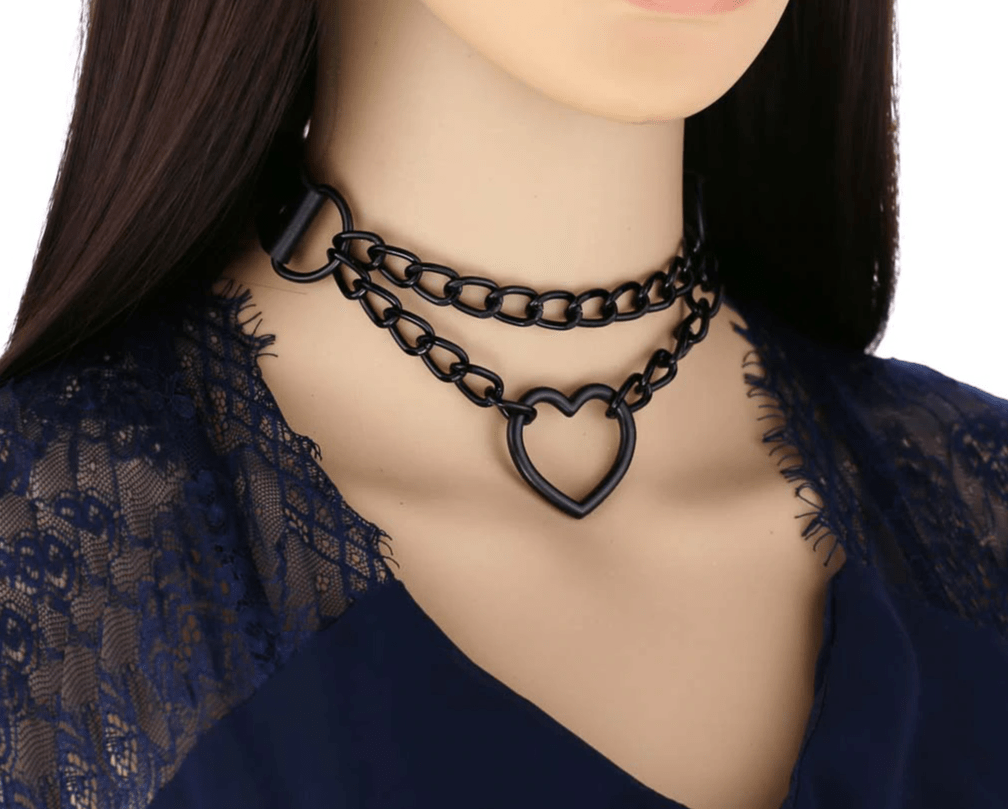 Choker with Black Heart and Chain E-girl Pastel gothic 42